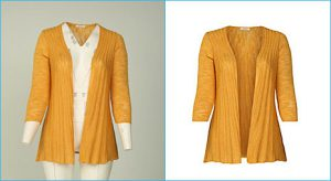 Before-after example of ghost mannequin for women clothing yellow-cardigan.