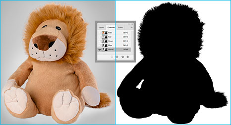 Clipping path product applied on sample teddy-bear Before-after example of an image layer mask in photoshop.