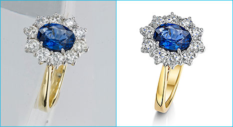 Example of jewelry photo retouching sample image for diamond rings.