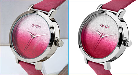 Photo retouching services sample image for oasis analog watch retouching done by- Clipping Path Product team.