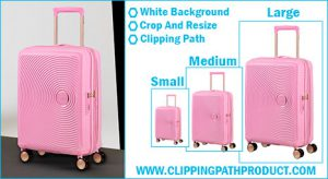 Clipping Path Product crop resize with web image processing for e-commerce sample-image-for-trolley luggage travel bag.