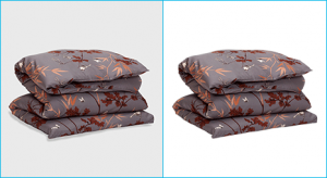 Remove bg from before after sample bed-sheet image done by clipping path product team photo editor.