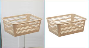 Remove background from image applied on storage-basket photo sample for Amazon, Ebey, Shopify, Babysop or omnichannel selling.