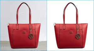 Clipping path before after sample image for ladies bag done by clipping path product team.